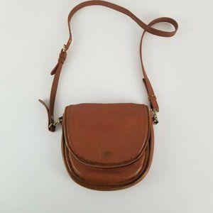 Bagdley Mischka Tan Leather Crossbody Purse Zipper